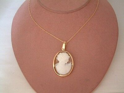 14Kt Gold Cameo Pendant W/14K Chain