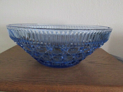 Federal Glass Co. Blue Windsor Bowl EAPG 10.25'' and 4''High