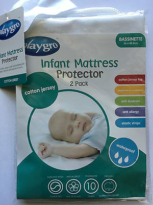 NEW Playgro Cotton Jersey Waterproof Bassinette Mattress Protector Twin Pack (2)