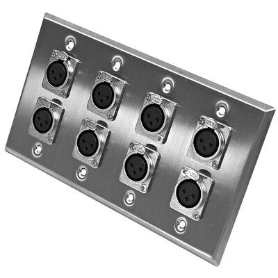 Seismic Audio - Stainless Steel Wall Plate - 4 Gang with 8 XLR Female Connectors