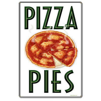 Pizza Pies Vintage Diner Menu Italian Restaurant Hot Food Metal Sign 16 x 24