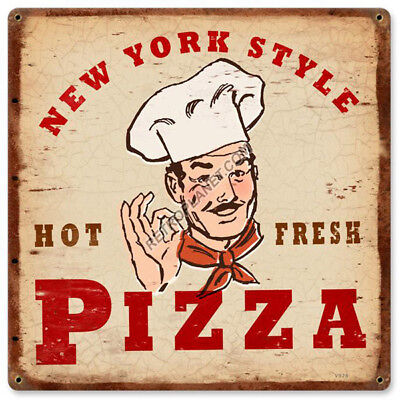Pizza New York Style Italian Chef Vintage Pizzeria Kitchen Metal Sign 12 x 12