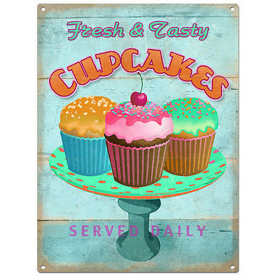 Fresh Cupcakes Metal Sign Distressed Vintage Bakery Kitchen Wall Decor 12 x 16