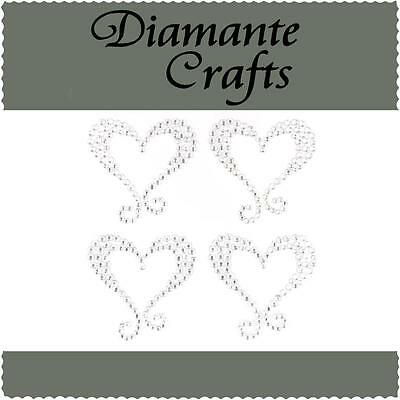 4 Clear Diamante Hearts with Swirl Vajazzle Rhinestone Body Art Self Adhesive