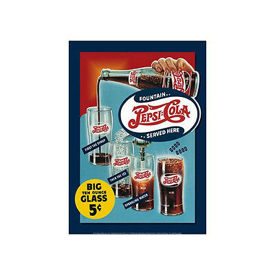 Pepsi-Cola Metal Sign Lithographed Steel Vintage Soda Pop Decor 16.75x11.75
