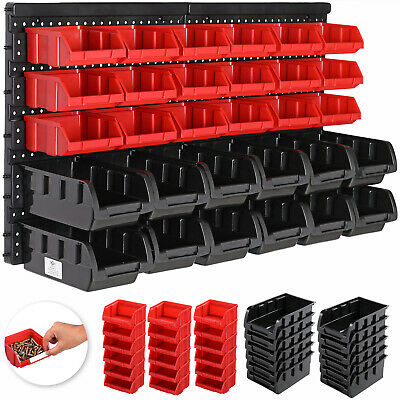 Large Plastic Storage Bin Kit 30pcs Wall Mount Garage DIY Box Tool Rack Board