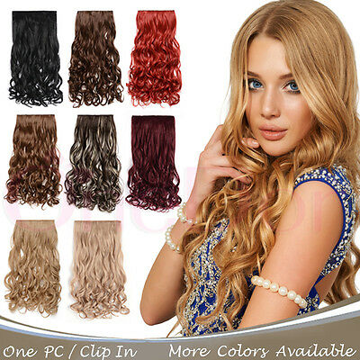 "Onedor 20"" Curly 3/4 Full Human Head Synthetic Clip on Hair Extensions  5 Clips"