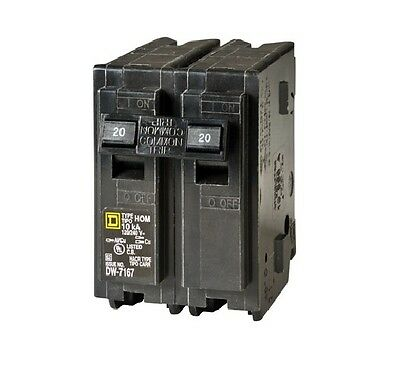 Square D HOM220CP Homeline Double Pole Circuit Breaker, 20 Amp, 2""