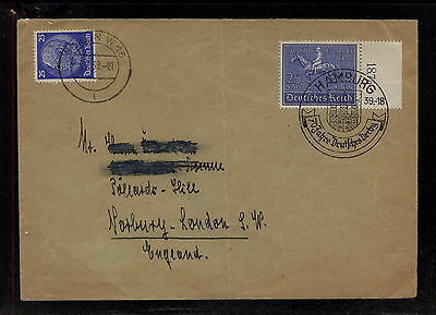 Germany  B144  hose stamp on cover  to England   1939       MS0931