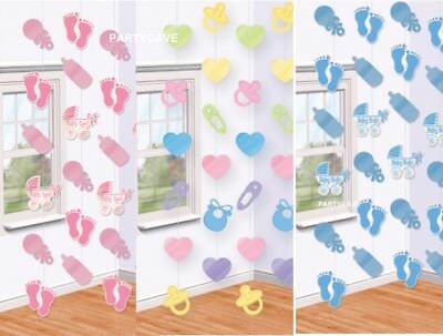 Baby Shower Christening Party Boy Girl Pink Blue Uni Hanging String Decorations
