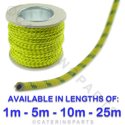 VARIOUS LENGTHS GREEN/YELLOW 1.5MM HEAT RESISTANT FIBRE INSULATED WIRE 1M to 25M