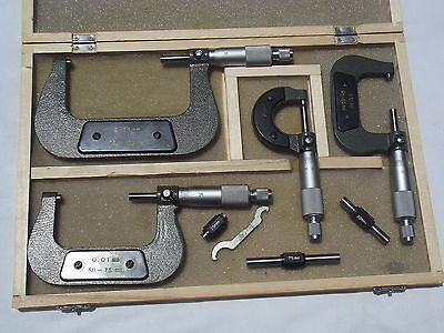 Micrometer Metric 4 Piece With Setting Gauges And Wrench Set