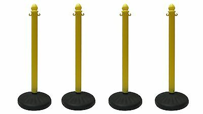Plastic Stanchion Heavy Duty 4 Pcs Set Color In Yellow Vip Crowd Control