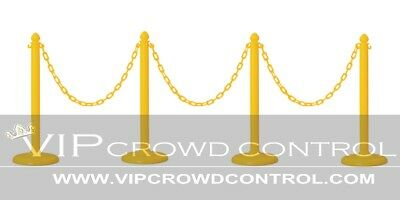 Plastic Stanchion, 4Pcs Set + 32' Chain, Color In Yellow, Vip Crowd Control