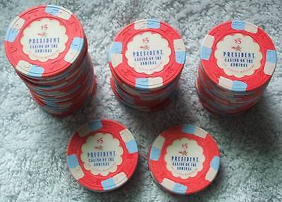 5 - $5. PRESIDENT CASINO CHIPS - ST LOUIS - Shipping Discounts