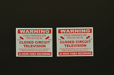 2 x Warning Premises Protected CCTV 24 Hr Video Recording Stickers 100mmx80mm
