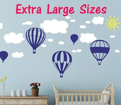 HUGE 5 x Hot Air Balloons Wall Stickers + Clouds Nursery Baby Boys and Girls
