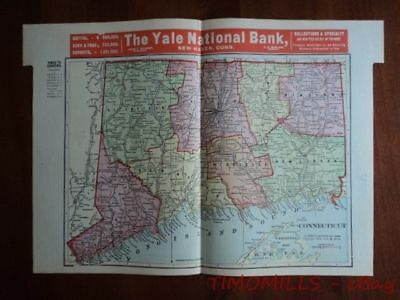1907 Connecticut Map of Bank Towns JW White Co. Antique Advertising Banking Map