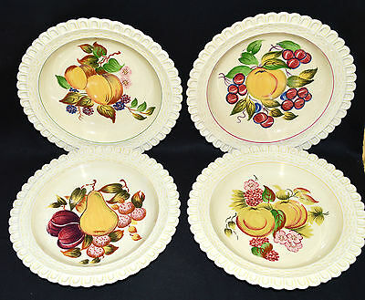 """Set of 4 Hand Painted Adams Royal Ivory Titian Ware 8"""" Plates, Fruit (1596)"""