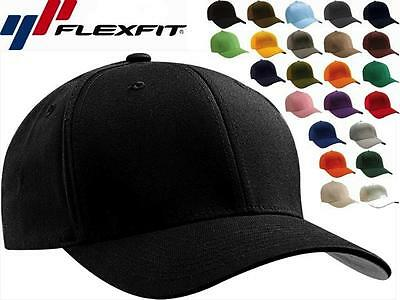 6277 Flexfit Wooly Combed Twill Fitted Plain Baseball Cap Hat - 6 Panel S/M L/XL