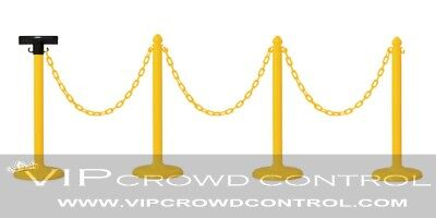 Plastic Stanchion 4Pcs Set Yellow + 32' Chain + Sign Bracket, Vip Crowd Control