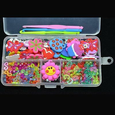 50 Charms+100 S-Clips+100 C-Clips+Hook+Box Loom  Craft Kit Rubber Bands -JJ