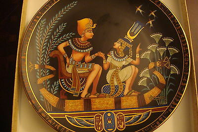 """Isis and Osiris Egyptian collector plate, 8 1/2"""" diameter, NIB made in Egypt"""