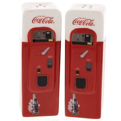 Coca-Cola Salt and Pepper Shakers Vending Machine Shaped Ceramic Licensed Set