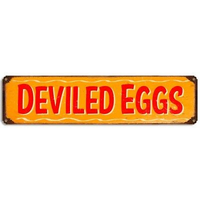Deviled Eggs Metal Sign Barbecue Rustic Vintage BBQ Kitchen Menu Decor 20 x 5