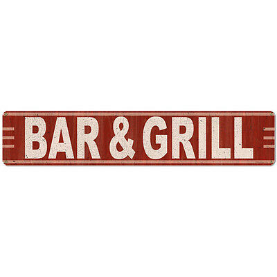 Bar and Grill 28 x 6 Metal Sign