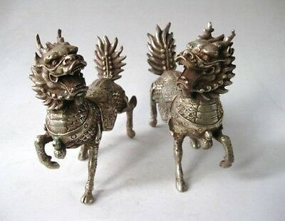 Pair Chinese Silver Bronze Unicorn Chi Lin Kylin Statue NR