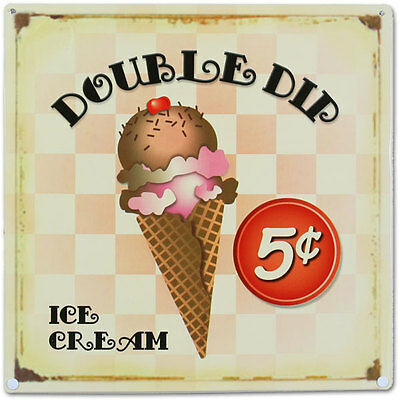 Double Dip Ice Cream Cone Metal Sign Vintage Ice Cream Parlor Style 14 x 14