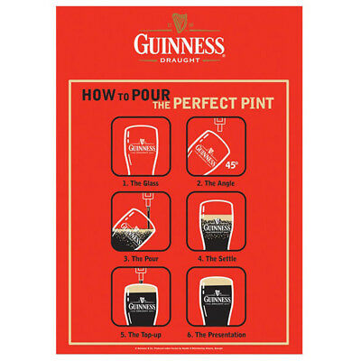 Guinness How to Pour the Perfect Pint Metal Sign Irish Beer Bar Decor 11 x 17