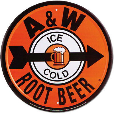 A & W Root Beer Pointer Metal Sign Round Vintage Diner Style Decor 12 in.