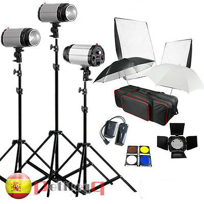 3 * 250W 750W STROBE STUDIO FLASH LIGHT KIT LIGHTING SET Photo Canon Nikon