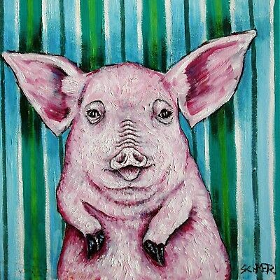pink pig tile art coaster gift animals impressionism gift stripes new artist