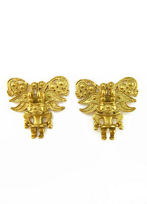 ACROSS THE PUDDLE 24k Gold Plated Pre-Columbian Zoomorphic Figure Earrings