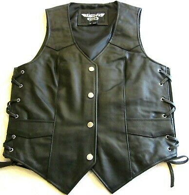 Womens Soft Black Leather Side Lace Motorcycle Biker Vest