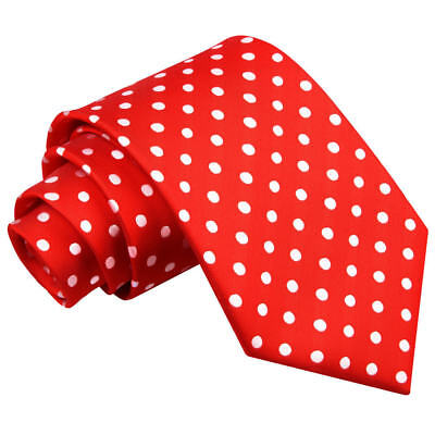 DQT Woven Polka Dot Red Formal Casual Mens Classic Tie