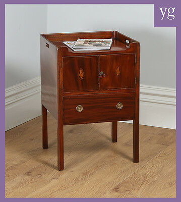 Antique Regency Mahogany Inlaid Bedside Cabinet Lampstand Chest Commode Cupboard