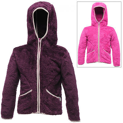 Regatta Childrens Girls Honeybear Hooded Fleece Jacket Zip Up Top Outdoor Wear