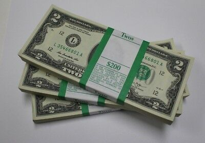 100 New Uncirculated  2 Two Dollar Bills BEP Pack FRB San Francisco 2013