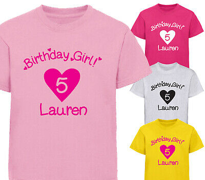 Girls Personalised Birthday Love Heart T-Shirt Kids T Shirts Childrens All Ages