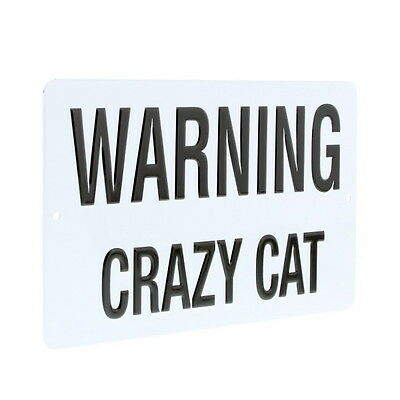 Warning Crazy Cat Metal Sign Embossed Funny Pet Owners' Wall Decor 7 x 4.75