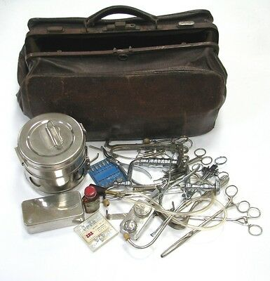 ANTIQUE SURGICAL DOCTOR BAG OVER 20 INSTRUMENTS TOOLS STETHOSCOPE RETRACTOR x
