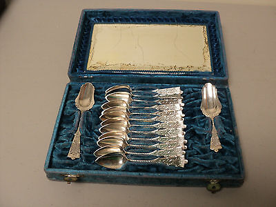 Rare Antique Dutch .833 Silver 14-Piece Boxed Tea Service Spoons, 123 Grams