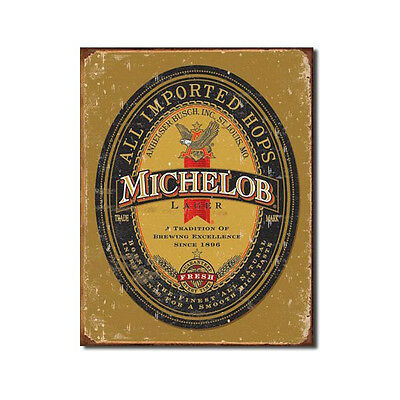 Michelob Imported Hops Beer Label Tin Sign Distressed Home Bar Decor 12.5 x 16