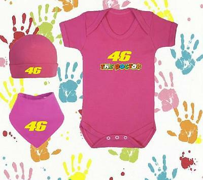 Rossi Bike Style Gp Baby's Girls Novelty Personalized Baby Grow, Hat And Bib Set