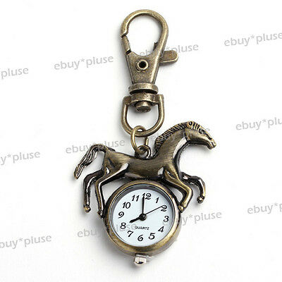 New Antique Bronze Tone Horse Quartz Pocket Pendant Watch Boy Girl's Kids Gift
