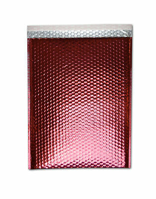 """Metallic Glamour Bubble Mailers Padded Envelope Bags 7.5"""" x 11"""" Red 250 Pcs"""